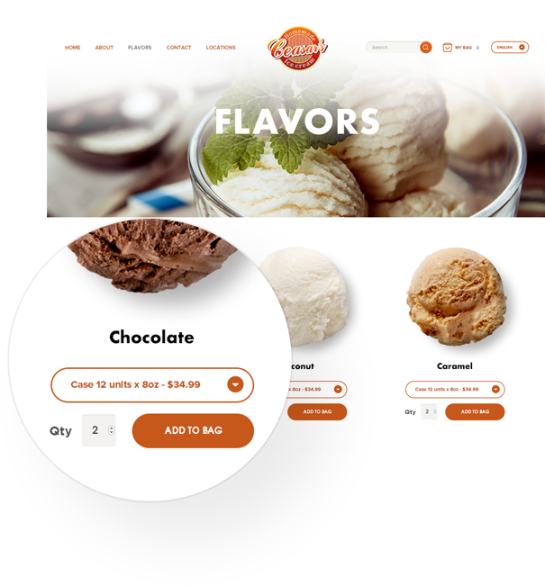 ecommerce ceasar's ice cream flavors