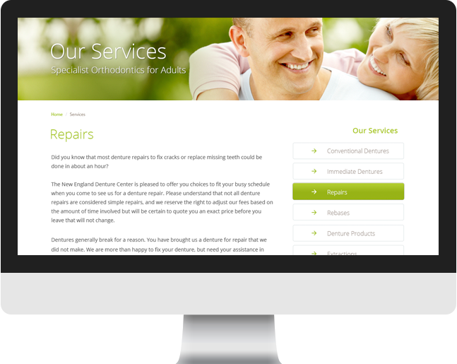 New England Denture Center services page