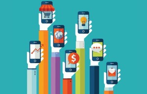 arms holding mobile phones in the air: mobile marketing
